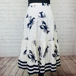 J Crew Lobster Skirt Tiered Ruffle Midi A Line 10